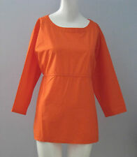 New GapMaternity Size M Letterman Orange Poplin Cinch Front 3/4 Sleeves Top