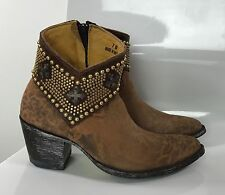 Old Gringo Old Ochre Brown Leopard  Studded Leather Ankle Boots 7 Western Moto