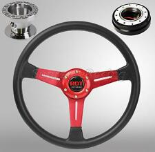 Red Steering Wheel Hub Quick Release Black Combo Kit For Honda Civic 1996-2000 E