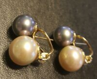 """FAUX WHITE PEARLS AND GRAY PEARLS PIERCED EARRINGS ♡ GOLD TONE ♡ 7/8"""" LONG"""