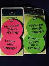 FOUR Bright Luggage Tags Funny Cute Humorous Green Pink Noticable Hands Off