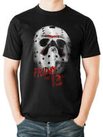 Official Friday the 13th T Shirt White Mask Jason Voorhees Black S M L XL XXL