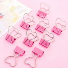 10PCS Cute Pink Love Metal Binder Clips File Paper Clip Office School