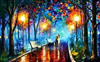 A0 LARGE Painting PRINT rain walk couple Modern Abstract Art Wall Deco Poster