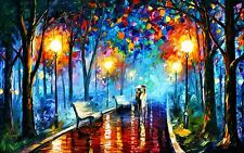 MASSIVE A0  Painting PRINT rain walk couple Modern Abstract Art Wall Deco canvas