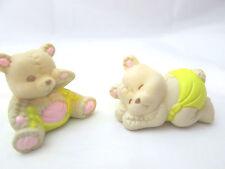 """2 - 1 1/2"""" Miniature Plastic Sleeping bear Figures"""