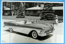 """12 By 18"""" Black & White Picture 1958 Ford Sunliner Conveertible Top Down"""