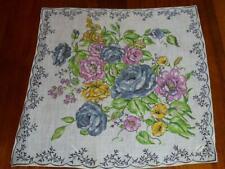 Vintage Nwt Carnations & Roses Hanky Handkerchief Hankie