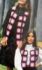 "#92 Ladies Long or Short Motif Crochet Jacket 36"" Vintage Crochet Pattern"