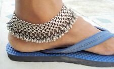 OLD SILVER ANKLET TRIBAL BELLY DANCE JEWELRY ANTIQUE