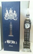 London Big Ben Clock Silver Metal Plated Crystal With Colourful Lights Souvenir