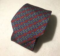 Hermes Paris Made in France Red And Blue Geometric Chain Link Silk Tie 7033 TA