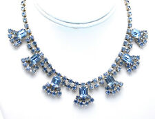 "Vintage Light Blue Rhinestone Deco Style Choker Necklace 15"" With 7 Drops"