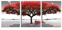 ZWPT27 3pcs 100% hand-painted Red landscape tree oil painting art on Canvas