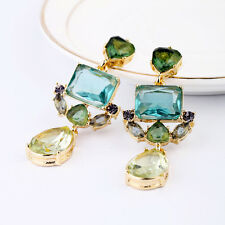 ANTHROPOLOGIE GREEN/CHAMPAGNE CHANDELIER DROP EARRINGS - NEW - STUNNING