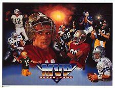 SPORTS POSTER~Super Bowl MVP Collage Print Bart Starr Lynn Swann Terry Bradshaw~