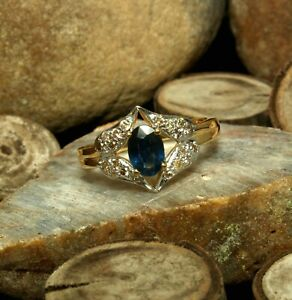 Natural Blue Sapphire Oval Gemstone Gold Plated 925 Sterling Silver Women Ring