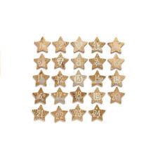 NEUF étoiles en bois avec adventskalenderzahlen Or