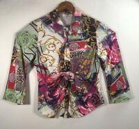 Paris Women's Size XL Multicolor Print 3/4 Sleeve Blouse Front Button Knot