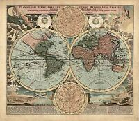 MAP ANTIQUE HOMANN 1716 EARTH HEMISPHERES OLD LARGE REPLICA POSTER PRINT PAM0929