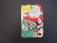 #K462- Vintage Unused Die Cut Coloring Xmas Greeting Card Santa with Gift Bag