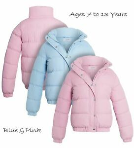 Girls Padded Puffer Jacket Ages 7 8 9 10 11 12 13 Years Coat Pale Pink Blue