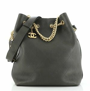 Chanel On My Shoulder Drawstring Bag Quilted Calfskin Small