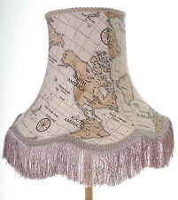 Vintage lampshade in beige world map fabric for standard lamp or ceiling lamp