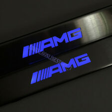 BLue LED Light Door Sill Scuff Plate Guard For Mercedes-Benz AMG W210 W211 W212