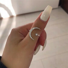 Exquisite 925 Silver,Gold,Rose Gold Crescent Moon & Star Diamond Open Ring Gift