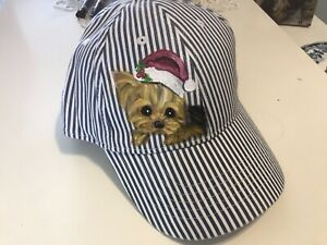 yorkie  With Santa Cap Hand Painted Hat