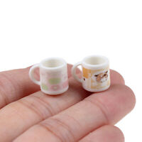 2Pcs 1/12 Dollhouse Kitchenware decoration Coffee Tea Cups Mugs Miniature  uW