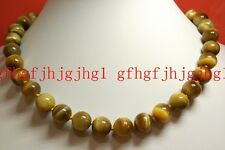 Hot 12mm 100% Natural Gold Tiger's Eye Gemstone Round Necklace 18'' AAAA