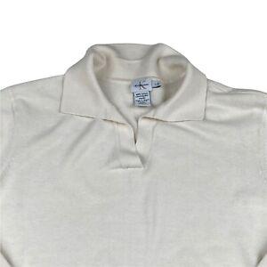Calvin Klein V Neck Collared Jumper Womens White Large Pullover Sweater