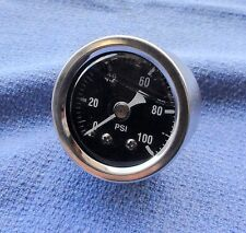 "Oil Pressure Gauge Harley Honda Customs, Chopper 1-3/8"" chrome 100psi Oil Guage"