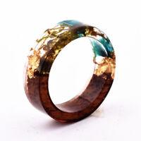 Resin Ring Wooden Flower Plants Novelty Ring Handmade Ring Wood Anniversary Gift