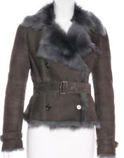 Burberry Women Shearling Lamb Suede Leather Jacket Coat Gray US 4 SMALL