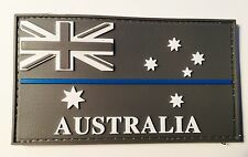 Australian Police Flag Rubber Patch, Grey, TBL, Thin Blue Line, Hook Rear
