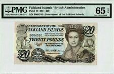2011 Falkland Islands/British 20 Pounds PMG65 EPQ GEM UNC <P-19> First Prefix B