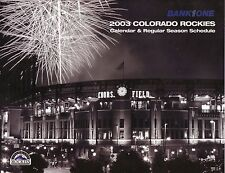 Colorado Rockies--2003 Calendar/Schedule--Coors Field