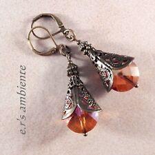 Ohrringe mit GLASSCHLIFFTROPFEN, Bronze-Vintage-Look, Ohrhänger, 0862