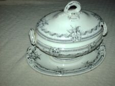 More details for  antique ridgeways alexandra lidded tureen & plate 1880s { lid handle repaired }