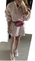 Zara SS20 Floral Print Shirt Dress Ruffled Cuff Pleated Hem L NWT