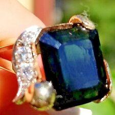 8.12CTW Vintage Rich Green Tourmaline Diamond 14k multi gold band