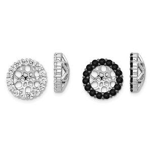 14k White Gold Black or White Diamond Halo Stud 12mm Earring Jacket 1.05 Ct.