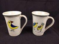Stoneware Mugs set 2 blue & yellow birds cups
