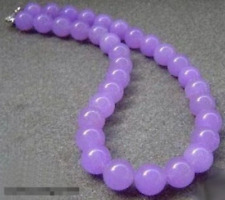 10mm Lavender Purple Jade Beads 18KWGP Clasp Necklace 22''