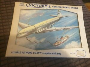 Vintage Victory Construction Wooden Jigsaw Puzzle B O A C COMET AIRLINER