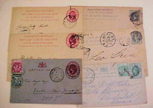 CAPE OF GOOD HOPE 5 POSTALC ARDS 1894-1901 also 1896 LETTER CARD 5 TO FOREIGN