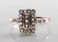 DIVINE 9CT 9K ROSE GOLD ALL DIAMOND EDWARDIAN ART DECO INS RING FREE RESIZE